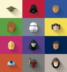 Colorful, Minimalist Flat Design Icons Of Famous 'Star Wars' Characters