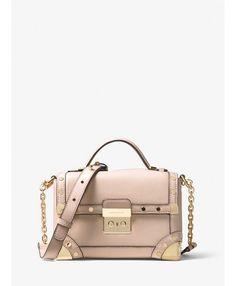 4f9ec8ec51f05 Online Michael Kors Soft Pink Cori Small Leather Crossbody Cheap