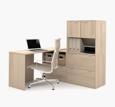 Modern L Shaped Office Desk With Three File Drawers In Northern Maple