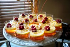 Peach Jell-O Shooters http://www.shrutisdilectabledilites.com/2013/12/12/peach-jell-o-with-french-vanilla-pudding/