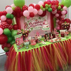 Tulle Table Skirt Tutu Table Skirt Strawberry Party First Tulle Table Skirt, Tutu Table, Table Skirts, Skirt Tulle, Tutu Skirts, Tutu Dresses, Party Dresses, Girl First Birthday, First Birthday Parties