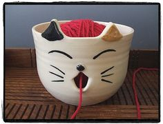X-Large Super Cute Calico Cat Yarn Bowl by misunrie (46.00 USD) by misunrie