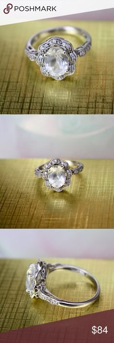 ❗FINALVintage Style Engagement Ring 925 Silver This ring really is gorgeous!From every side, intricate details make up the beauty of this ring.Center and side stones are cubic zirconia.Center stone is set in a halo with accented stones on the sides.On the inside of the ring, there are two hearts.Size 7 1/4.Price firm or bundle for instant discount!No trades/off-site transactions. Jewelry Rings