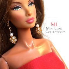 Doll Jewelry for Fashion Royalty Dolls, Barbie dolls, Poppy Parker and other 11 to 12 inch dolls by MiniLuxeCollection, Rhinestone and Pearl Earrings $14.00