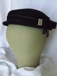 Vintage 1950's Black Wool Dapper Woman's Hat by ThatsSewTimeless, $20.00
