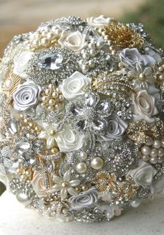 Wedding Brooch Bouquet. Deposit on gold silver and by annasinclair