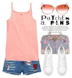 """""""Patch It, Pin It, Perfect! 1402"""" by boxthoughts ❤ liked on Polyvore featuring Nicole Lee, MANGO, Oliver Peoples and patchesandpins"""