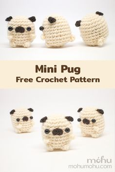 Mini Amigurumi Pug Free Crochet Pattern - - Crochet an adorable mini pug dog with this free amigurumi pattern and tutorial. Little pugs are so quick and easy to make, you'll soon have a whole grumble for yourself or your pug-loving friends and family. Crochet Kawaii, Cute Crochet, Crochet Crafts, Yarn Crafts, Crochet Projects, Knit Crochet, Crochet For Dogs, Things To Crochet, Diy Crochet Gifts