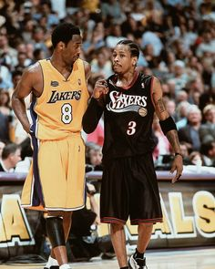 Kobe Bryant and Allen Iverson. Sport Basketball, Nba Sports, Basketball Legends, Basketball Players, Basketball Scoreboard, Jordan Basketball, Kentucky Basketball, Kentucky Wildcats, College Basketball