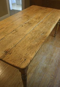 Old farmhouse antique pine kitchen table hall table cottage