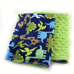 Baby Shower Gift / Personalized Baby Blanket / Blue Dinosaurs Blanket
