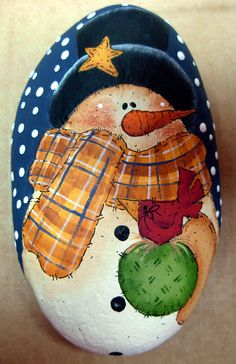 Snowman with Top Hat and Bird Paperweight - Handpainted