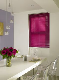 Shocking Pink venetian blind has a great effect in your home. Adding fun colours to brighten your surroundings Made To Measure Blinds, Blinds For Windows, Bright Pink, Venetian, House Design, Colours, Curtains, Pretty, Furniture