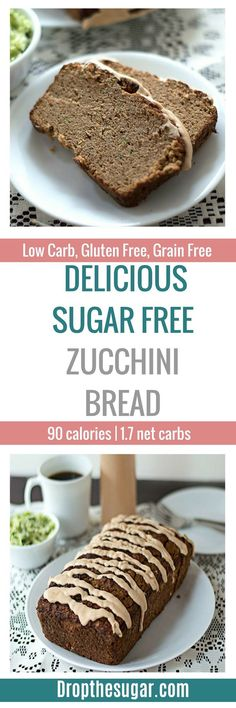 Delicious Sugar Free Zucchini Bread | a low carb zucchini bread that is also gluten free! Great for anyone looking for a low carb snack idea for work or home. With the holidays coming up, it makes a great treat! Pin now to make later! Low Carb Sweets, Low Carb Desserts, Healthy Desserts, Low Carb Recipes, Banting Recipes, Atkins Recipes, Easy Recipes, Healthy Recipes, Sugar Free Desserts