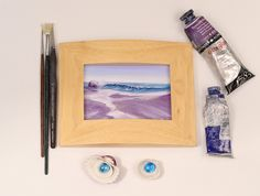 """Original Ocean Waves Painting, Small Sunset Oil Painting, Seascape Art, Wave Painting, Framed Fine Art, Calming Ocean Art, Coastal Decor, Beach Wall Art, Ocean Waves XXVIII 5x3.5"""" framed 7x5"""". Small framed original seascape painting """"Ocean Waves XXVIII, oil on MDF 5x3.5"""", in an elegant wooden frame (framed dimensions 7""""x 5""""), ready to hang/stand on the table or shelf, perfect gift size. This purple and lavender wave painting breathes with freshness and power of breaking ocean waves at..."""