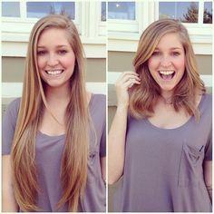 Goodbye to of hair! Medium Hair Cuts, Long Hair Cuts, Medium Hair Styles, Short Hair Styles, Long To Short Hair, Short Curly Hair, Long Bob, Easy Hairstyles For Long Hair, Cool Hairstyles