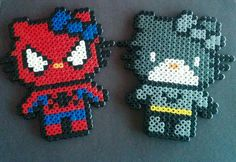 Spiderman and Batman Hello Kitty perler beads. by sugargalaxystore