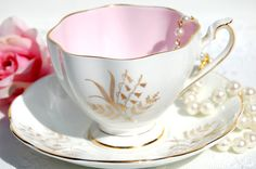 Antique 1950's Tea Cup and Saucer. White and Gold Fine Bone China Tea Cup. English Tea Set. Wedding, Bridal Shower, Gift Inspiration