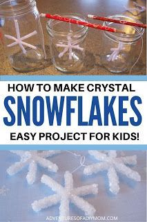 How to make crystal snowflakes. This is such a fun project for kids!  #diycrystalsnowflake #snowflakesforkids