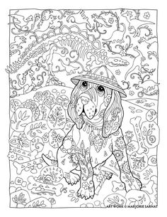 "Creative Haven Dazzling Dogs Coloring Book by Marjorie Sarnat, ""Paleontologist"""