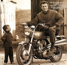 This photo of Clint Eastwood sitting on a Norton Commando 750 S appeared in a 2007 issue of Classic Bike magazine. Apparently when he was younger, Eastwood was an admirer of British cars and motorcycles. The bike is a rare [. Motos Vintage, Vintage Bikes, Vintage Cars, Clint Eastwood, British Motorcycles, Vintage Motorcycles, Cars And Motorcycles, Custom Motorcycles, Kelly's Heroes