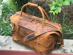 b798de3bcbd8 20 Inch Hunter Brown Genuine Classic Leather Weekender Duffle Bag