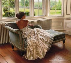 Artist: Rob Hefferan; art; paintings; hyper realistic painting; wedding dress; beauty; beautiful women; romance; romantic; beauty; love; bride; white; home decor; the look of love