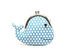 Cute cerulean blue whale clutch purse. $24.90, via Etsy.