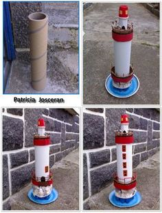 Beautiful lighthouse made of cardboard - * Briko & Déko homemade * Seashell Crafts, Beach Crafts, Summer Crafts, Recycled Crafts, Diy And Crafts, Crafts For Kids, Arts And Crafts, Cardboard Crafts, Paper Crafts