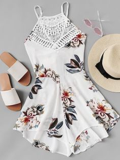 Shop Criss Cross Knot Back Floral Romper online. SheIn offers Criss Cross Knot Back Floral Romper & more to fit your fashionable needs. Cute Comfy Outfits, Cute Girl Outfits, Cute Summer Outfits, Pretty Outfits, Stylish Outfits, Cute Summer Rompers, Cute Rompers, Girls Fashion Clothes, Teen Fashion Outfits