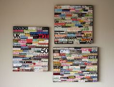 DIY collage art using recycled magazines and canvas Recycled Magazines, Old Magazines, Crafts To Do, Arts And Crafts, Diy Crafts, Upcycled Crafts, Handmade Crafts, Handmade Rugs, Cuadros Diy