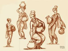 Human Figure Sketches, Human Sketch, Figure Sketching, Figure Drawing, Character Sketches, Character Drawing, Art Sketches, Indian Illustration, Indian Art Paintings