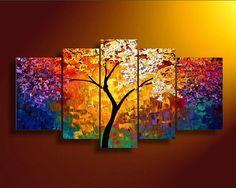 Quadro Abstrato Colorido Árvore Cod 1700