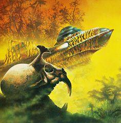 Science fiction art by Tony Roberts. 70s Sci Fi Art, Classic Sci Fi, Sci Fi Horror, Sci Fi Books, Retro Futuristic, Science Fiction Art, Pulp Art, Illustrations, Sci Fi Fantasy