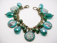 Celtic Art Charm Bracelet altered art OOAK by freakchicboutique