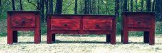 3 Piece Antiqued Red Living Room Set