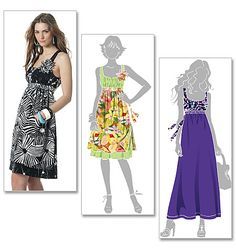 Sewing pattern, custom design, couture clothes, McCall's: wide-strap/halter dress, alternate length/maxi dress M6110