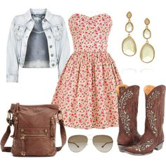 Floral Spring Country Outfit  So Cute! This would have been perfect for the Hunter Hayes concert today!