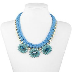 Woven Chain Statement Necklace Blue