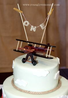 Nicolas' Vintage Airplane Birthday Party, first birthday party ideas, boys birthday parties, birthday party ideas, cake topper, airplane party