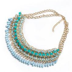 Aventura Jewellery Gold Plated Aruba Aqua Blue Statement Necklace #walmart