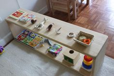 Academic and Montessori inspired actions for baby and little . Find out other great ideas about Baby video games, Montessori toddler and Kid activities. Montessori Playroom, Montessori Toddler, Montessori Activities, Infant Activities, 7 Month Old Baby Activities, Toddler Learning, Baby Lernen, Toy Shelves, 10 Month Olds