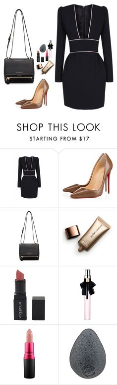 """The lonly girl"" by audrey-balt on Polyvore featuring The 2nd Skin Co., Christian Louboutin, Givenchy, Nude by Nature, Smashbox, Yves Saint Laurent and MAC Cosmetics"