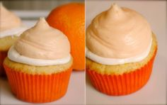 """Orange Creamsicle Cupcakes - You remember when Chandler says """"Gum would be perfection""""? I think what he meant to say was """"An orange creamsicle cupcake would be perfection"""" because there is no other way to describe this cupcake. Orange Creamsicle, Orange Juice, Cupcake Recipes, Cupcake Cakes, Dessert Recipes, Cup Cakes, Cupcake Ideas, Yummy Treats, Sweet Treats"""