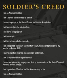 Soldiers creed--want to get a tattoo of some of this if I end up joining the military Military Mom, Army Mom, Army Life, Us Army, Military Apparel, Military Veterans, Army Retirement, Retirement Quotes, Soldiers Creed