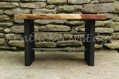Live Edge Coffee Table Walnut Wood Table Black by KentuckyLiveEdge