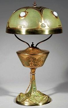 Art Nouveau lamp with jewels and enamel.
