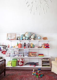 easy kids room or playroom storage