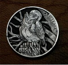 "Hobo Nickel ""Blue Moon"" Great Horned Owl Coin by Howard Thomas"