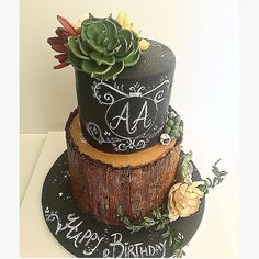 Birthday Cake adorned with Succulents - Cake by Shafaq's Bake House